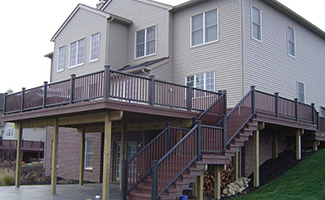 Deck & Pergola Construction Installation Ann Arbor MIchigan - deck-side-of-house-with-stairs